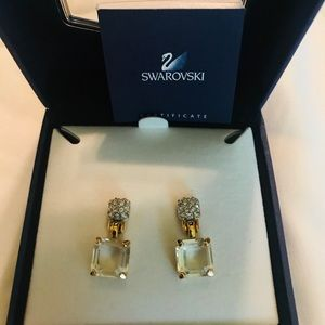 Swarovsky emerald cut crystal earrings